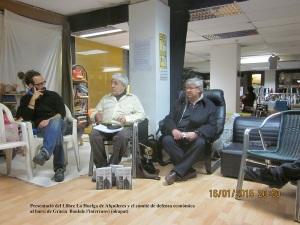Presentació del llibre de la Huelga de Alquileres y el comité de defensa económica al barri de Gràcia Bancokupar 16-1-2015 Manel Aisa i Juanjo Alcalde
